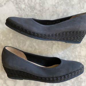 Ferragamo Navy braided wedge heel shoe